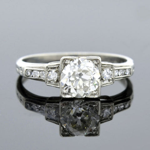 Art Deco Platinum Diamond Engagement Ring 0.92ct