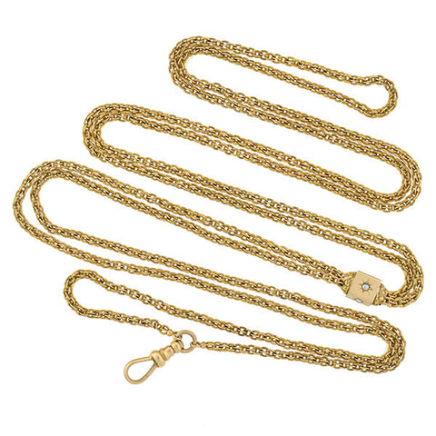 Victorian Long 14kt Chain Necklace w/ Seed Pearl Slide 23.8dwt
