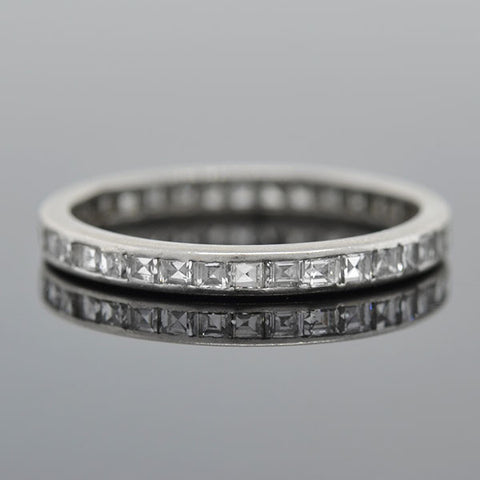 Art Deco Platinum & Square Cut Diamond Eternity Band