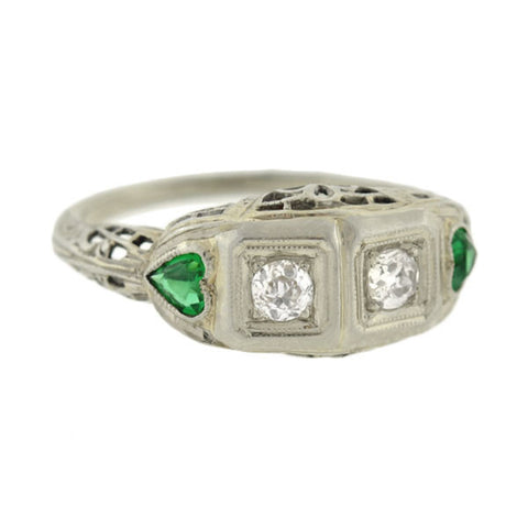 Art Deco 18kt Diamond Emerald Heart Ring 0.30ctw