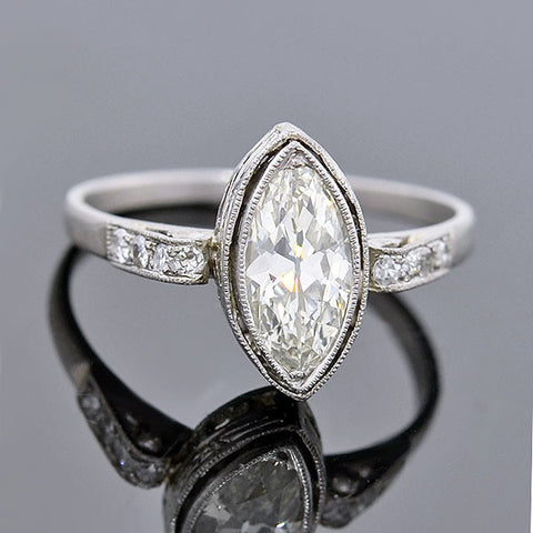 Art Deco Platinum Marquise Diamond Ring 0.63ct