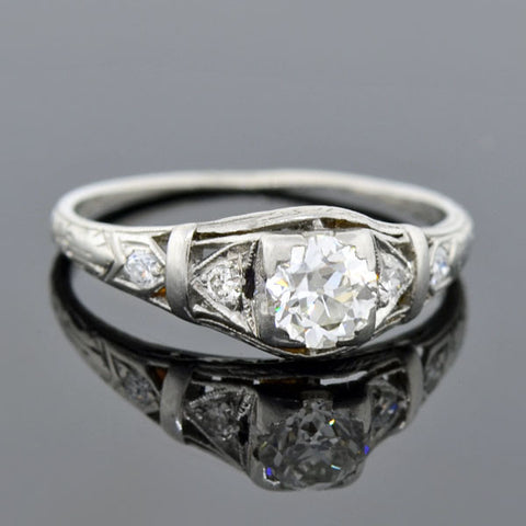 Art Deco Platinum Diamond Engagement Ring 0.51ct