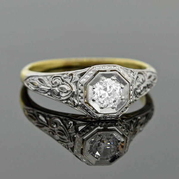 Edwardian Platinum & 18kt Diamond Engage Ring 0.25ct
