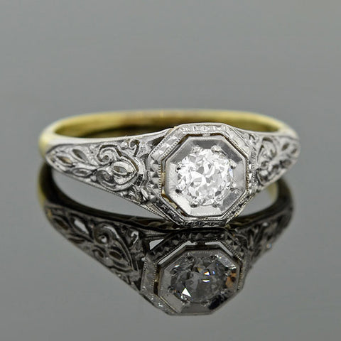 Edwardian Platinum & 18kt Diamond Engagement Ring .25ct