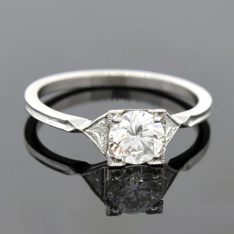 Art Deco Platinum Diamond Engagement Ring 0.84ct