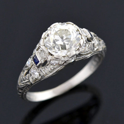 Art Deco Platinum Diamond Sapphire Engage Ring 1.08ct