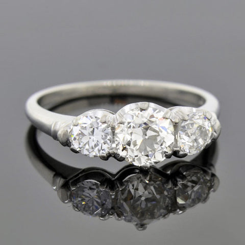 Edwardian Platinum Diamond Trilogy Ring 1.38ctw