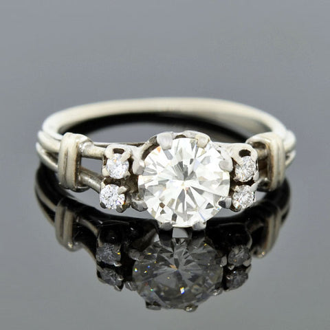 Estate Platinum Diamond Engagement Ring 0.77ct