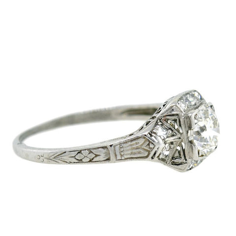 Art Deco Platinum Diamond Engagement Ring 0.59ct