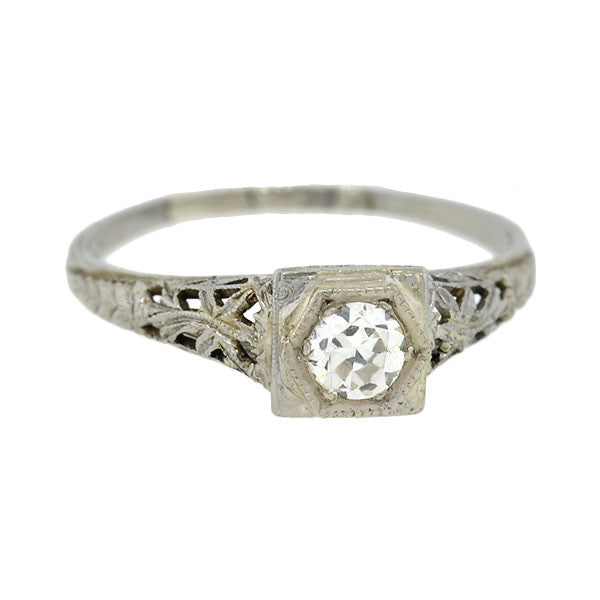 Art Deco 18kt Diamond Engagement Ring 0.26ct