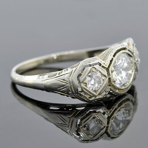 Edwardian 14kt Diamond 3-Stone Ring 1.09ctw