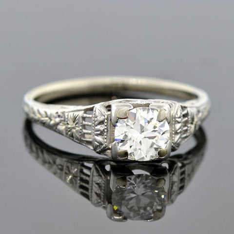 Art Deco 18kt Diamond Engagement Ring 0.65ct