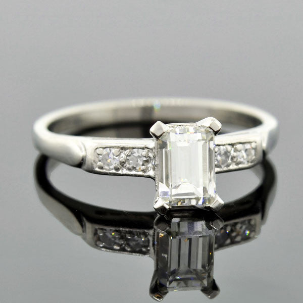 Art Deco Platinum Emerald Cut Diamond Engagement Ring .87ct