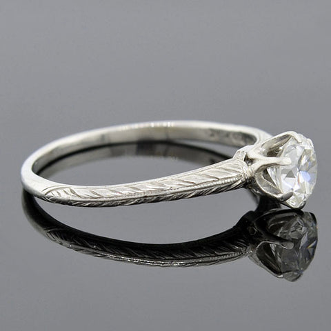 TIFFANY & CO. Art Deco Platinum Diamond Engagement Ring 0.62ct