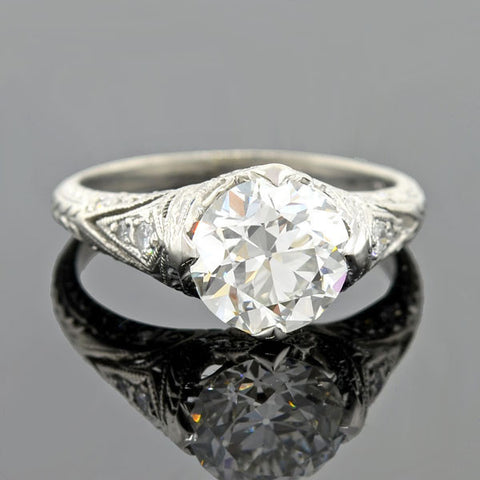 Late Art Deco Platinum Diamond Engagement Ring 0.75ct