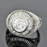 Art Deco Platinum Diamond Filigree Engagement Ring 2.20ct