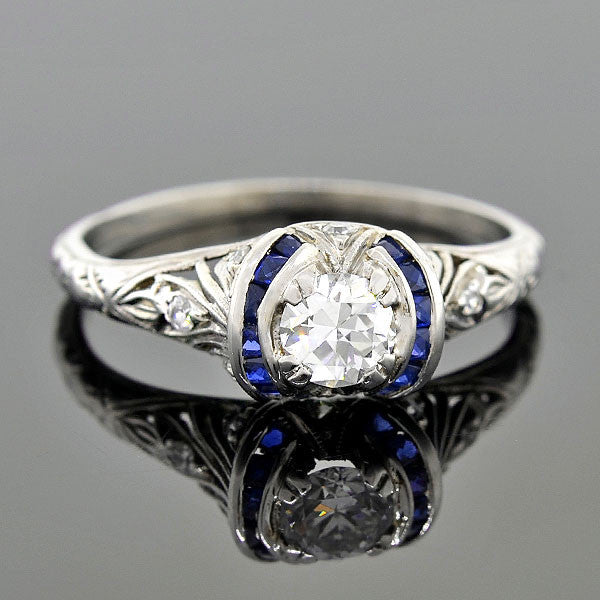 Art Deco Platinum Sapphire Diamond Engagement Ring 0.35ct