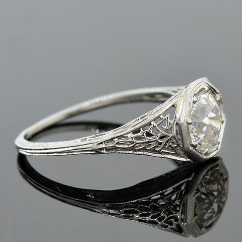 Art Deco 18kt Diamond Engagement Ring 1.27ct