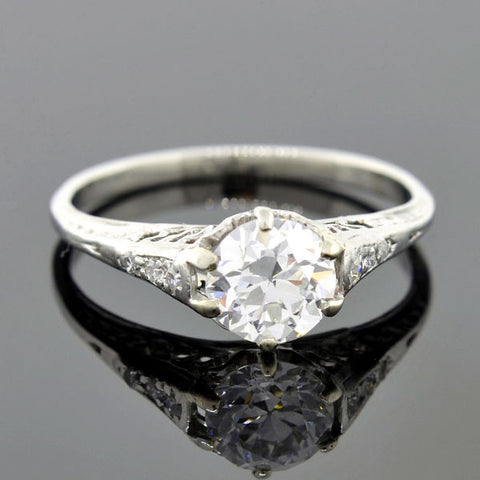 Art Deco Platinum Diamond Engagement Ring 0.95ct