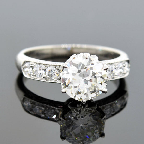 Art Deco Style Platinum Diamond Engage Ring 1.36ct