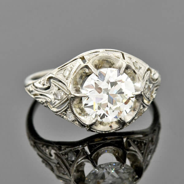 Edwardian Platinum Diamond Engagement Ring 1.36ctw