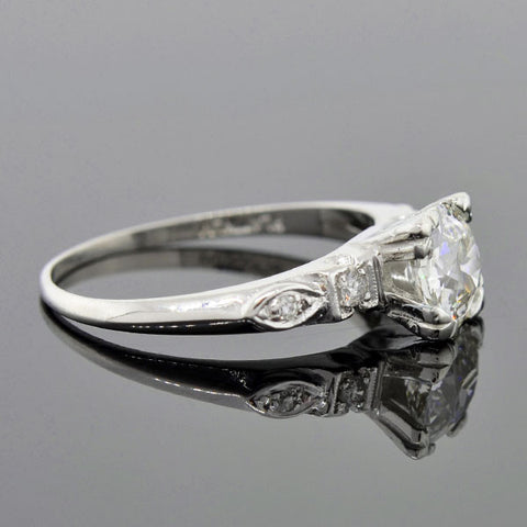 Retro Platinum Diamond Engagement Ring 0.96ct