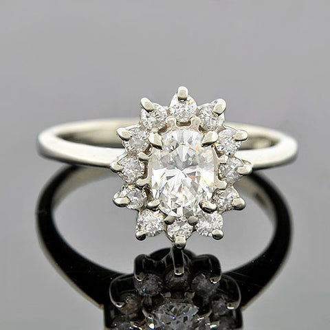 Estate 14kt Diamond Engagement Ring 0.63ct center