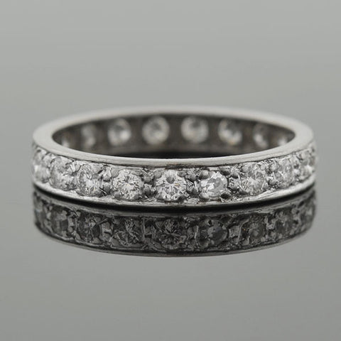 Art Deco Platinum Full Cut Diamond Eternity Band .90ctw