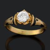 Victorian 18kt Enameled Diamond Engagement Ring 0.62ct