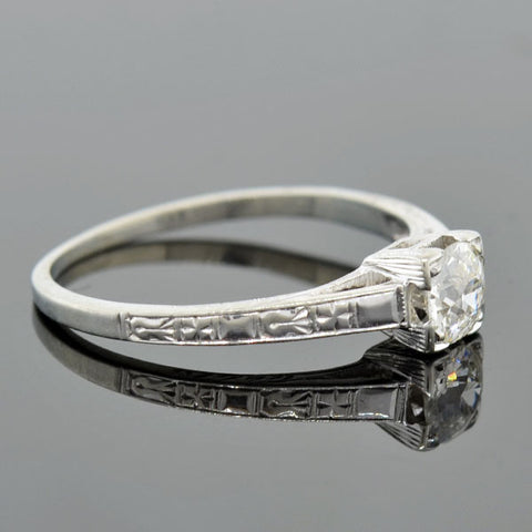 Art Deco 18kt Diamond Engagement Ring 0.35ct