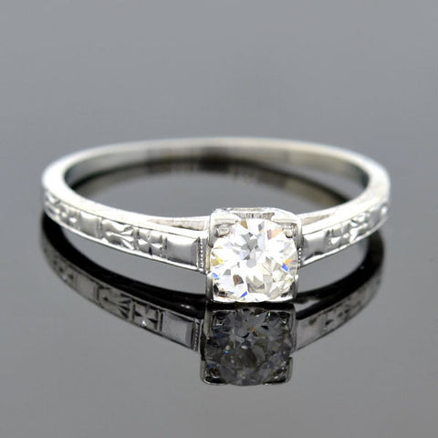 Art Deco 18kt Diamond Engagement Ring 0.20ct