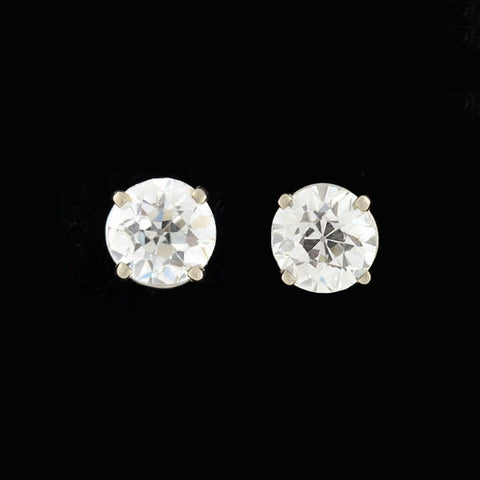 Estate 14kt Old European Cut Diamond Stud Earrings 1.95ctw