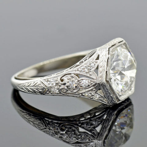 Art Deco Platinum Diamond Engagement Ring 2.60ct