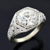 Art Deco Platinum Diamond Engagement Ring 2.50ct