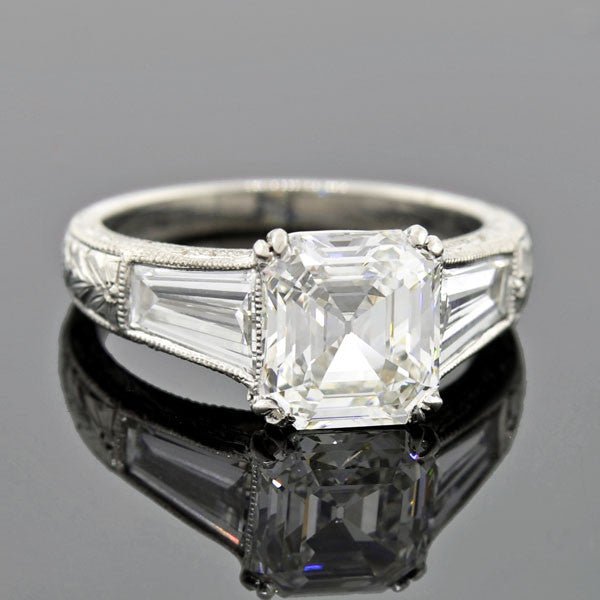 Vintage Platinum Asscher Emerald Cut Diamond Engagement Ring 2.23ct