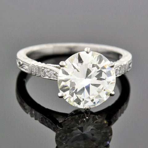 Art Deco Style Platinum Diamond Engagement Ring 2.75ct