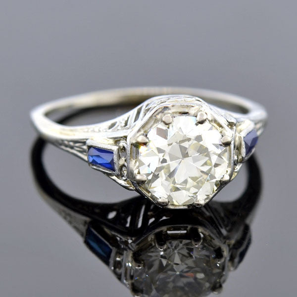 Art Deco 18kt Diamond Sapphire Engagement Ring 1.34ct