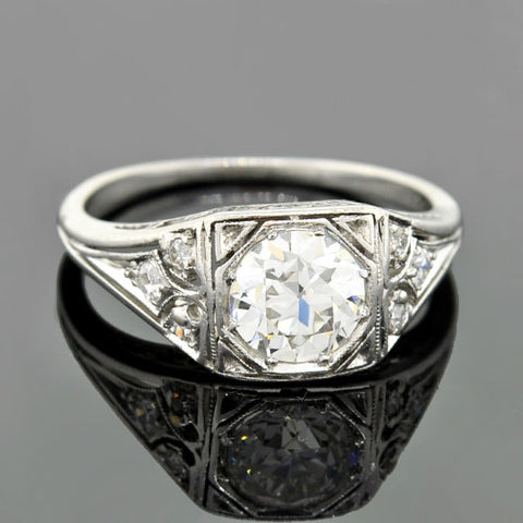 J.E. CALDWELL Art Deco Platinum Diamond Engagement Ring 1.19ct