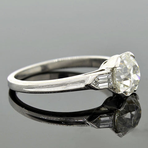 Art Deco Platinum Diamond Engagement Ring 1.65ct