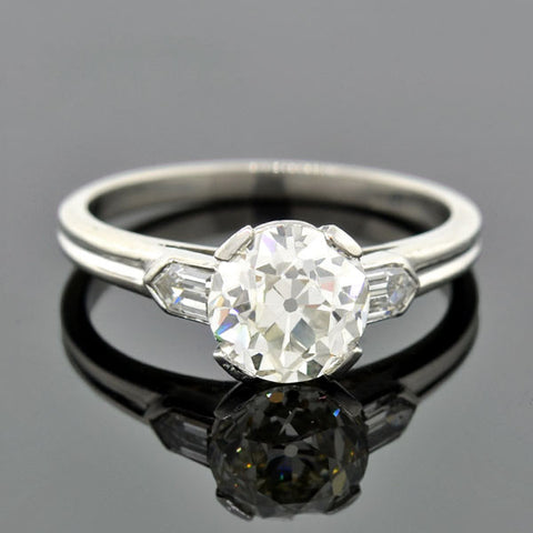 Art Deco 18kt Gold 3 Stone Diamond & Sapphire Ring .60ctw