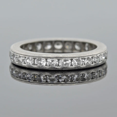 Art Deco Platinum Single Cut Diamond Eternity Band .80ctw