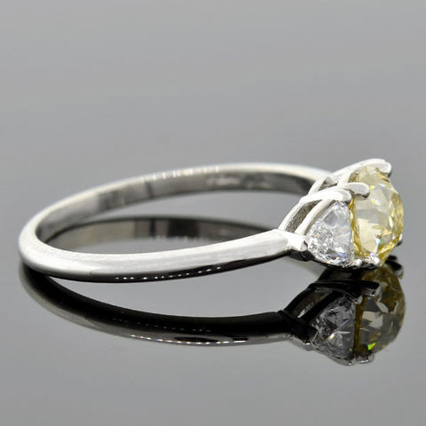Vintage Platinum Champagne Diamond Engagement Ring 0.85ct