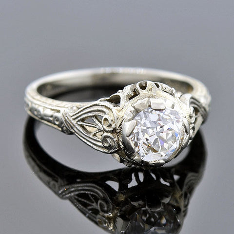 Art Deco 18kt Diamond Engagement Ring 0.75ct