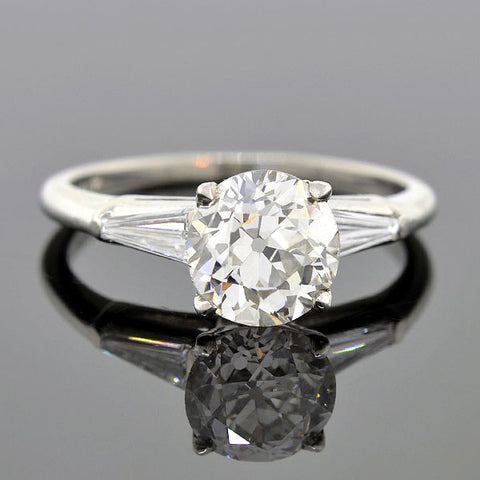 Vintage Platinum Diamond Engagement Ring 1.70ct