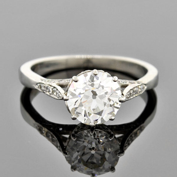 Art Deco Platinum Diamond Engagement Ring 1.68ct