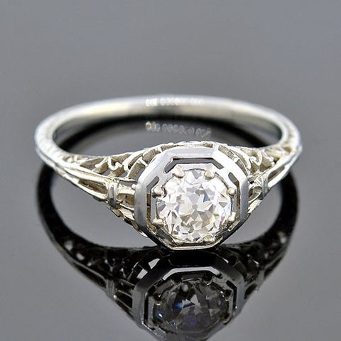 Art Deco Platinum Diamond & Onyx Engagement Ring .90ct
