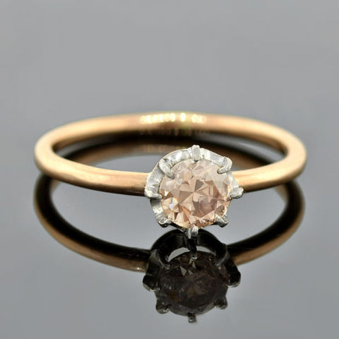 Edwardian 18kt/Platinum Champagne Diamond Ring 0.30ct