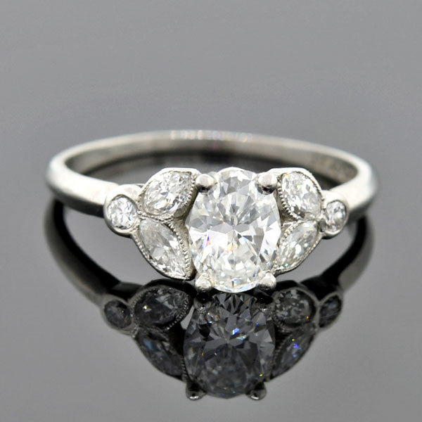 Art Deco Platinum Diamond Petal Motif Engagement Ring 0.56ct