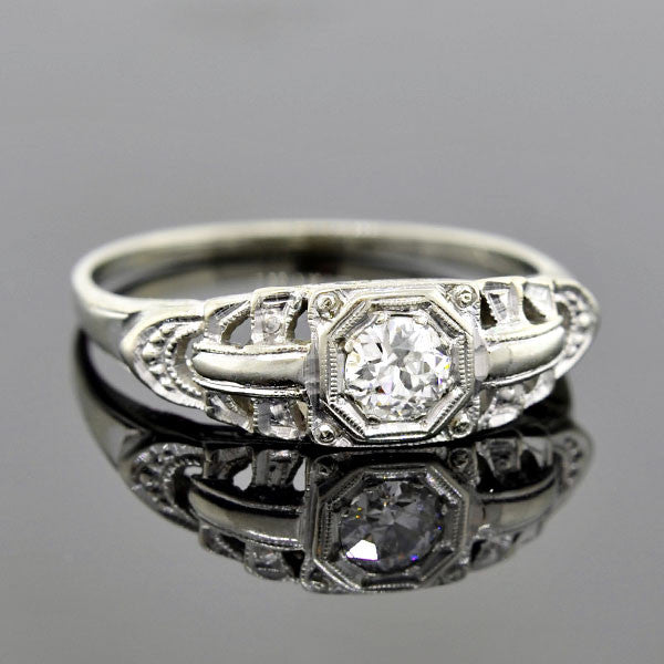 Art Deco 18kt Diamond Engagement Ring 0.25ct