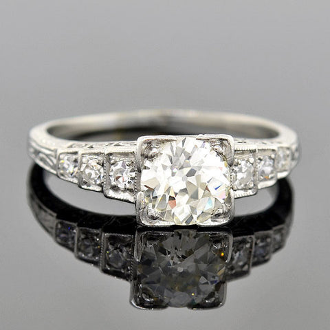 Art Deco Platinum & Diamond Step-Up Engagement Ring 0.90ct